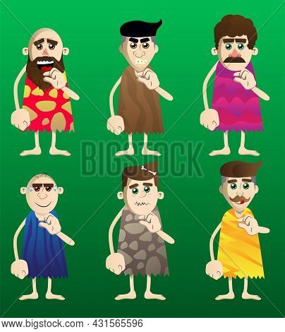 Cartoon Prehistoric Man Gesturing A Small Amount With Hand. Vector Illustration Of A Man From The St