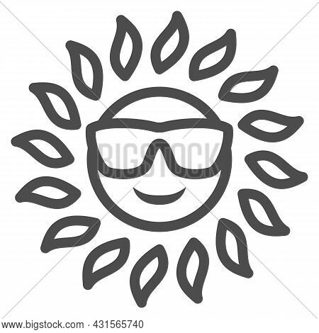 Sun In Glasses Line Icon, Weather And Climate Concept, Sunshine In Spectacles Vector Sign On White B