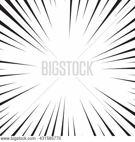 Comic Book White And Black Radial Lines Background. Superhero Action, Explosion Background, Manga Sp