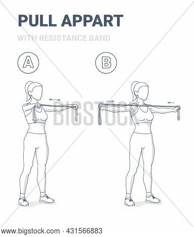Girl Doing Pull Appart Home Workout Exercise With Resistance Band Rubber Equipment Guidance.