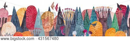 Beautiful coniferous forest in autumn. Horizontal banner with forest landscape. Watercolor illustration. Repeating horizontal border.