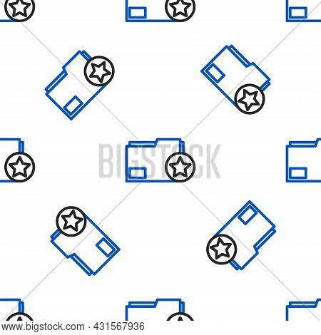 Line Document Folder With Star Icon Isolated Seamless Pattern On White Background. Document Best, Fa