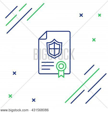 Line Contract With Shield Icon Isolated On White Background. Insurance Concept. Security, Safety, Pr