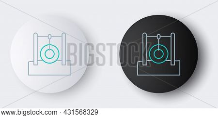 Line Car Tire Hanging On Rope Icon Isolated On Grey Background. Playground Equipment With Hanging Ro