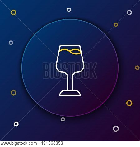 Line Wine Glass Icon Isolated On Blue Background. Wineglass Sign. Colorful Outline Concept. Vector