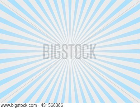 Sunlight Rays Shine Background. Powder Blue And Pink Color Burst Background. Vector Sky Illustration