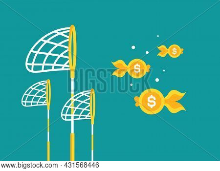 Pool Or Fish Net With Dollar Coins As Golden Fish. Catch, Hunt, Chase Money Goldfish. Achieve Goals,