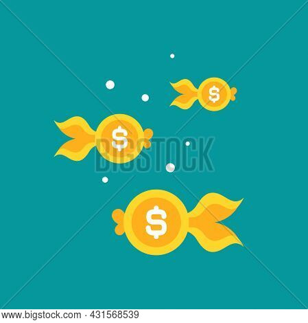 Goldfish. Dollar Coin As Golden Fish. Flat Icon Isolated On Blue Background. Free, Easy Catch Money.