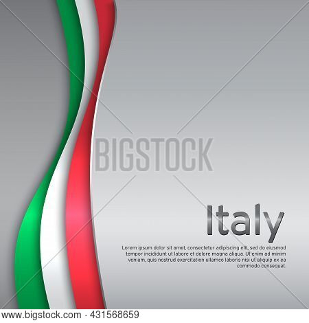 Abstract Waving Italy Flag. Creative Metal Background In Italy Flag Colors For Holiday Card Design.