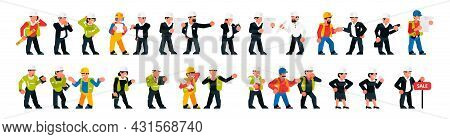 Set Of Builders Foremen. Men And Women Are Managers, Supervisors, Businessmen, Builders, Workers. Ve