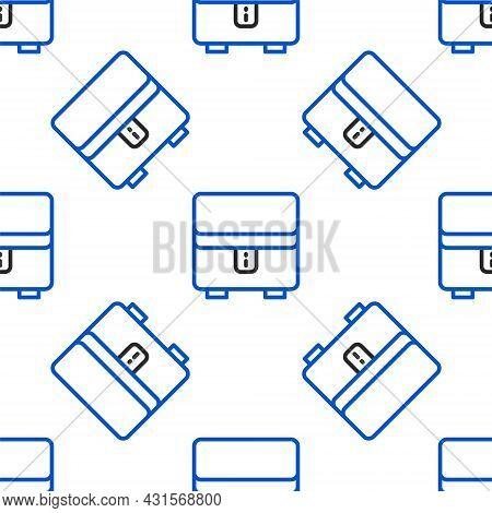 Line Jewelry Box Icon Isolated Seamless Pattern On White Background. Casket With Jewelry. Colorful O