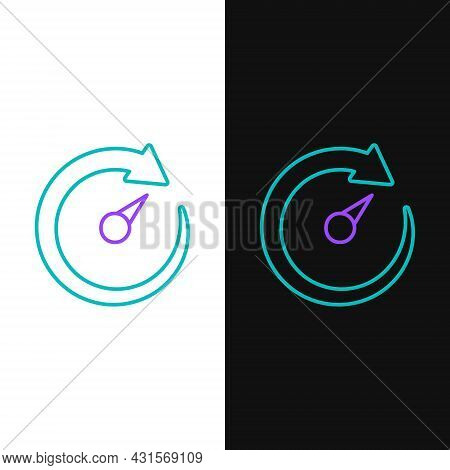Line Digital Speed Meter Icon Isolated On White And Black Background. Global Network High Speed Conn
