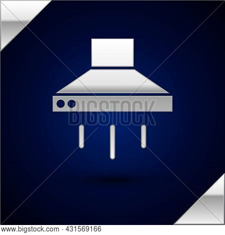 Silver Kitchen Extractor Fan Icon Isolated On Dark Blue Background. Cooker Hood. Kitchen Exhaust. Ho