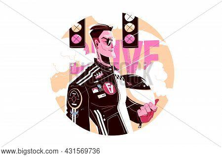 Man Street Racer Vector Illustration. Cool Professional Racer Flat Style. Person In Black Outfit Hol