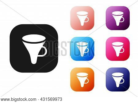 Black Funnel Or Filter Icon Isolated On White Background. Set Icons Colorful. Vector