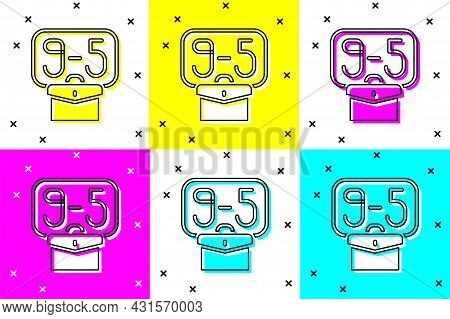 Set From 9:00 To 5:00 Job Icon Isolated On Color Background. Concept Meaning Work Time Schedule Dail