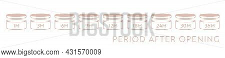 Pao Vector Icon Set. Period After Opening Symbols. Can With Open Cap With Expiration Period In Month