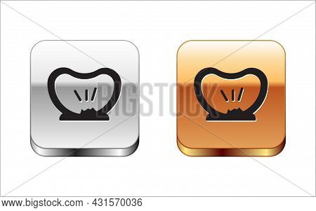 Black Bicycle Punctured Tire Icon Isolated On White Background. Bike Race. Wheel Tire Air. Sport Equ