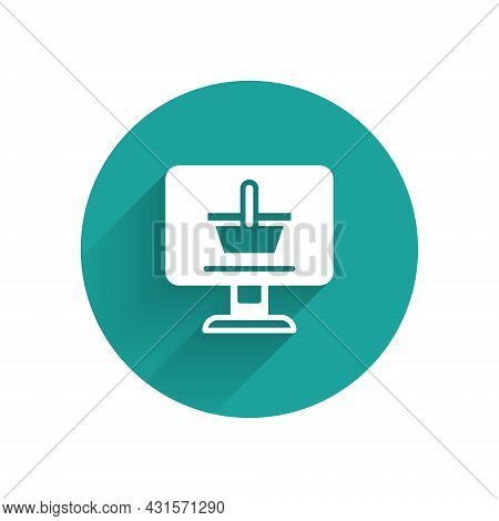 White Shopping Cart On Screen Computer Icon Isolated With Long Shadow Background. Concept E-commerce