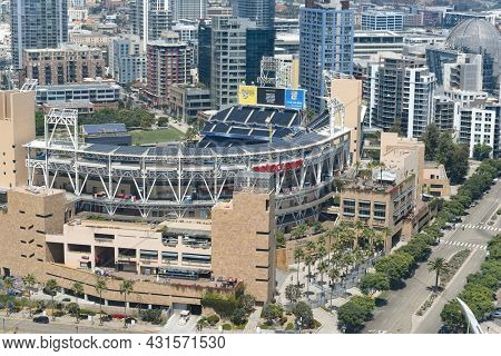 SAN DIEGO , CALIFORNIA - 25 AUG 2021: Petco Field, home of the San Diego Padres of the National League West Division of Major League Baseball.