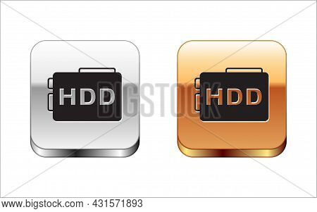 Black Hard Disk Drive Hdd Icon Isolated On White Background. Silver And Gold Square Buttons. Vector
