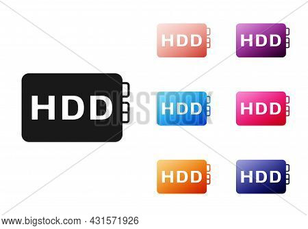 Black Hard Disk Drive Hdd Icon Isolated On White Background. Set Icons Colorful. Vector