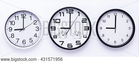 Wall clock on white  background top view. Office wall clock front view