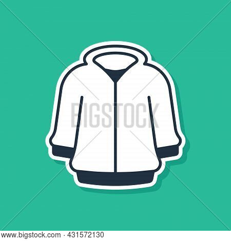Blue Hoodie Icon Isolated On Green Background. Hooded Sweatshirt. Vector