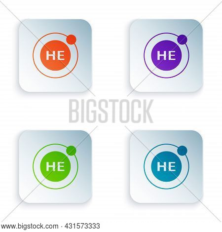 Color Helium Chemical Element Icon Isolated On White Background. Helium Periodic Table Element Chemi