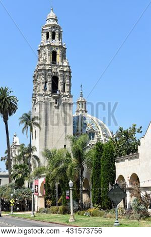 SAN DIEGO, CALIFORNIA - 25 AUG 2021: The Museum of Us and California Tower is a cultural anthropology museum.