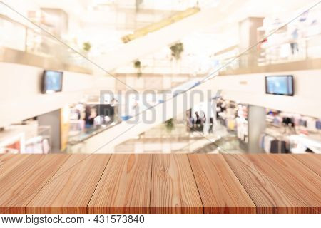Wooden Pine Table On Top Over Blur Background, Can Be Used Mock Up For Montage Products Display Or D