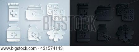 Set Medicine Bottle And Pills, Pills Blister Pack, Emergency Star Medical Symbol Caduceus Snake With