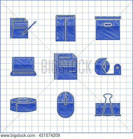 Set File Document, Computer Mouse, Binder Clip, Scotch, Laptop, Carton Cardboard Box And Blank Noteb