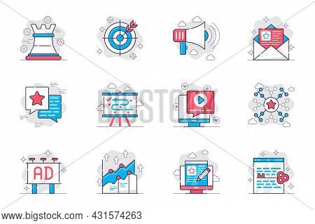 Marketing Concept Flat Line Icons Set. Successful Business Promotion Strategy. Bundle Of Target, Att