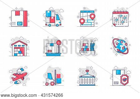 Shipping Concept Flat Line Icons Set. Delivery Service And Logistics. Bundle Of Parcel, Truck, Track