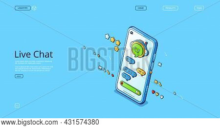 Live Chat Banner. Online Conversation With Customer Support, Mobile Phone App For Talk With Service