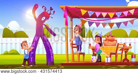 Girl Celebrate Birthday With Friends On House Backyard With Waky Air Man And Festive Decoration, Cak