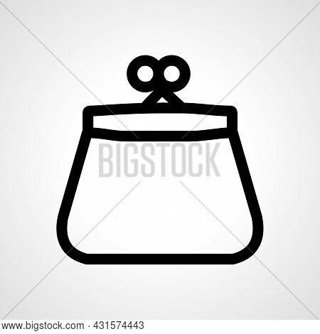 Purse Line Icon. Money Woman Purse Isolated Simple Vector Icon