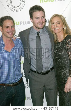 BEVERLY HILLS - MARCH 9: Greg Berlanti, Stephen Amell and Susanna Thompson arrive at the 2013 Paleyfest