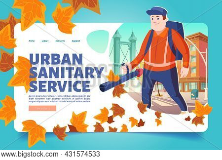 Urban Sanitary Service Cartoon Landing Page. Janitor Street Cleaner Blowing Out Fallen Leaves On Cit
