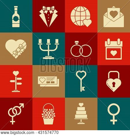 Set Female Gender Symbol, Castle In The Shape Of Heart, Calendar With, The World Love, Candlestick,