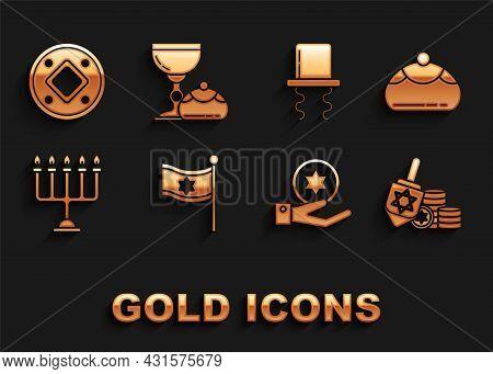 Set Flag Of Israel, Jewish Sweet Bakery, Hanukkah Dreidel And Coin, On Hand, Menorah, Orthodox Jewis
