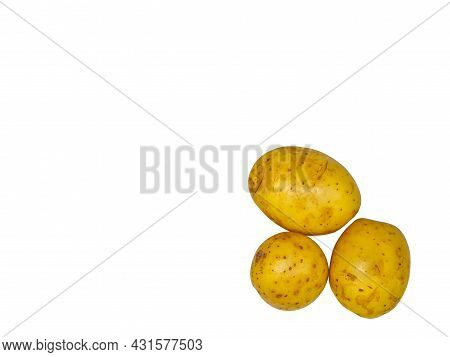 Harvest Of Yellow Potatoes On A White Background. Potato Harvest. Agricultural Business. Farm. Shop