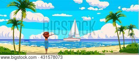 Tropical Resort Landscape Panorama, Woman On The Beach, Sailboat. Sea Shore Sand, Exotic Palms, Coas