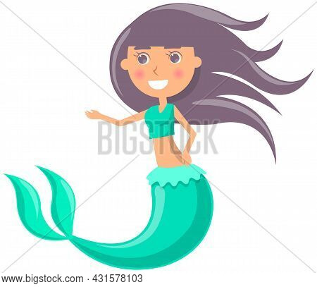 Beautiful Mermaid On White Background. Girl With Fish Tail. Water Nymph, Cute Nixie. Cartoon Nautica