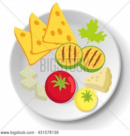 Grilled Vegetables On Plate. Tomato, Squash, Cheddar And Brie Platter. Healthy Dish Of Fresh Food. D