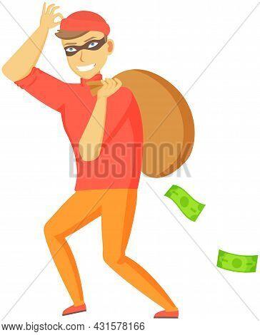Cartoon Thief Carrying Big Money Bag. Man Walking Carefully, Bandit Carries Sack With Money. Funny B