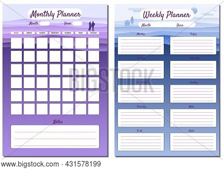 Monthly, Weekly, Planner Template Vector. Minimal Landscape With Couple Background, To Do List, Goal