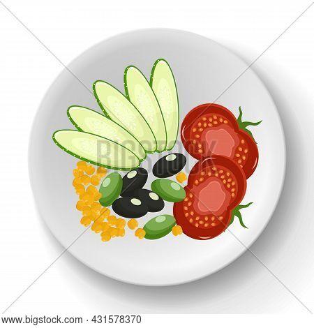 Fresh Vegetables On Plate. Paprika, Carrots, Radishes, Lettuce And Artichoke Platter. Healthy Dish O