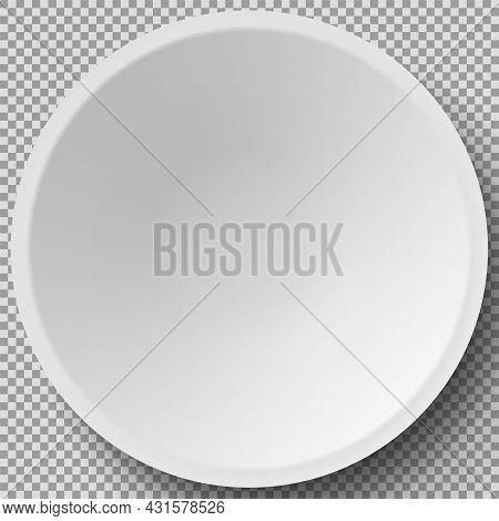 Empty White Porcelain Plate. Round White Plate Isolated On Transparent Background. Cookware, China,